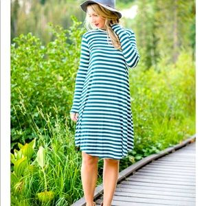 Green and white stripped dress